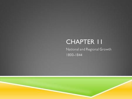 CHAPTER 11 National and Regional Growth 1800-1844.