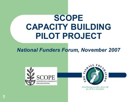 1 SCOPE CAPACITY BUILDING PILOT PROJECT National Funders Forum, November 2007.