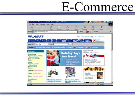 E-Commerce. What is E-Commerce? E-Commerce can be defined as … The conduct of selling, buying, logistics, or other organization-management issues via.