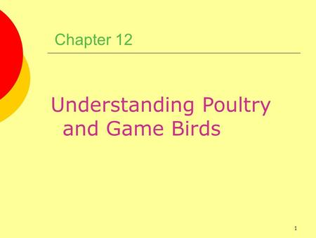 1 Chapter 12 Understanding Poultry and Game Birds.