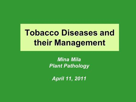 Tobacco Diseases and their Management Mina Mila Plant Pathology April 11, 2011.