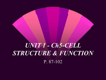 UNIT 1 - Ch5-CELL STRUCTURE & FUNCTION P. 87-102.