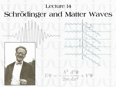 Lecture 14: Schrödinger and Matter Waves. Particle-like Behaviour of Light n Planck's explanation of blackbody radiation n Einstein's explanation of photoelectric.