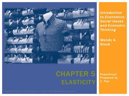 Introduction to Economics: Social Issues and Economic Thinking Wendy A. Stock PowerPoint Prepared by Z. Pan CHAPTER 5 ELASTICITY Copyright © 2013 John.