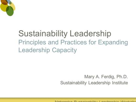 Sustainability Leadership Principles and Practices for Expanding Leadership Capacity Mary A. Ferdig, Ph.D. Sustainability Leadership Institute.