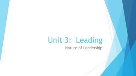Unit 3: Leading Nature of Leadership. What is the nature of leadership?  Leadership.  The process of inspiring others to work hard to accomplish important.