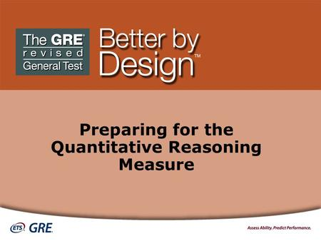 Preparing for the Quantitative Reasoning Measure.