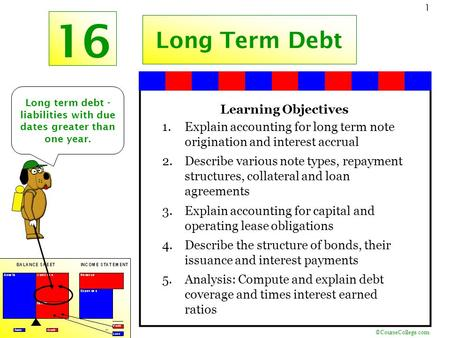 ©CourseCollege.com 1 16 Long Term Debt Long term debt - liabilities with due dates greater than one year. Learning Objectives 1.Explain accounting for.
