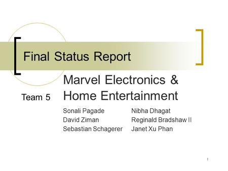 1 Final Status Report Sonali PagadeNibha Dhagat David Ziman Reginald Bradshaw II Sebastian Schagerer Janet Xu Phan Marvel Electronics & Home Entertainment.