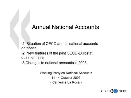1 Annual National Accounts  1. Situation of OECD annual national accounts database  2. New features of the joint OECD-Eurostat questionnaire  3 Changes.