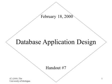 (C) 2000, The University of Michigan 1 Database Application Design Handout #7 February 18, 2000.