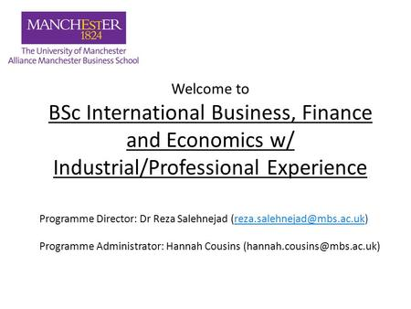 Welcome to BSc International Business, Finance and Economics w/ Industrial/Professional Experience Programme Director: Dr Reza Salehnejad