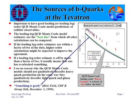 Cambridge Workshop July 18, 2002 Rick Field - Florida/CDFPage 1 The Sources of b-Quarks at the Tevatron  Important to have good leading (or leading-log)