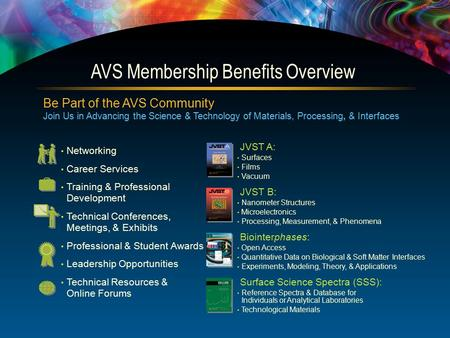 Be Part of the AVS Community Join Us in Advancing the Science & Technology of Materials, Processing, & Interfaces Networking Career Services Training &