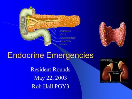 Endocrine Emergencies Resident Rounds May 22, 2003 Rob Hall PGY3.