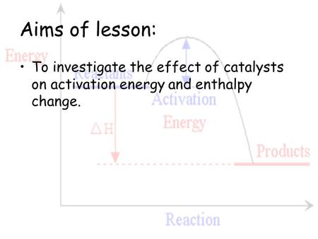 Aims of lesson: To investigate the effect of catalysts on activation energy and enthalpy change.