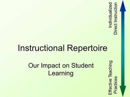 Instructional Repertoire Our Impact on Student Learning Effective Teaching Practices Individualized Direct Instruction.