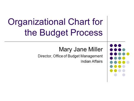 Organizational Chart for the Budget Process Mary Jane Miller Director, Office of Budget Management Indian Affairs.