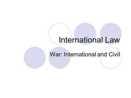 "International Law War: International and Civil. Just War: Avenging injuries against a foe that fails to punish wrongs committed by its citizens.  ""that."