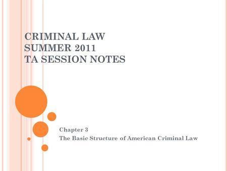 CRIMINAL LAW SUMMER 2011 TA SESSION NOTES Chapter 3 The Basic Structure of American Criminal Law.