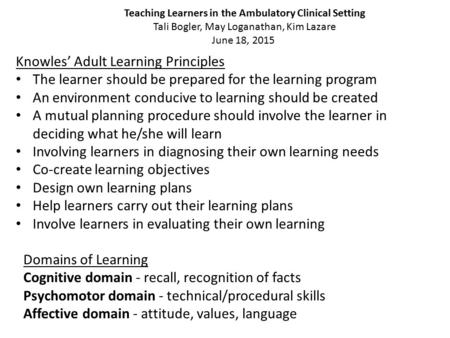 Teaching Learners in the Ambulatory Clinical Setting Tali Bogler, May Loganathan, Kim Lazare June 18, 2015 Knowles' Adult Learning Principles The learner.