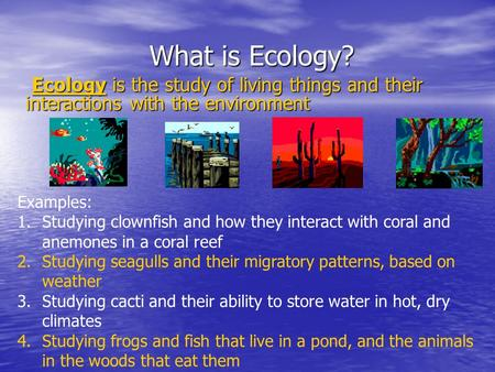 What is Ecology? Ecology is the study of living things and their interactions with the environment Ecology is the study of living things and their interactions.