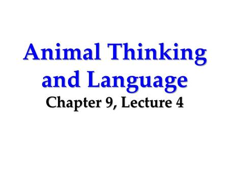 Animal Thinking and Language Chapter 9, Lecture 4