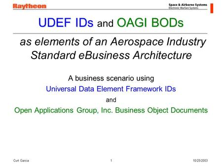 Curt Garcia10/25/20031 UDEF IDsOAGI BODs UDEF IDs and OAGI BODs as elements of an Aerospace Industry Standard eBusiness Architecture A business scenario.