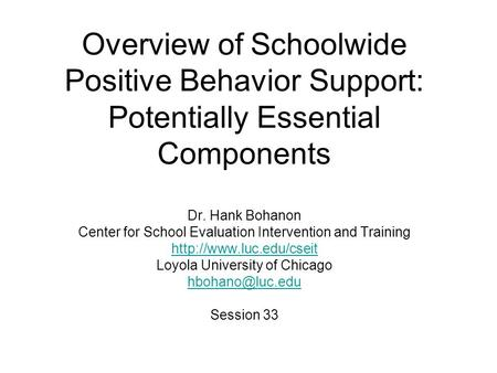 """an overview of positive behavior programs Introduction/overview (located on a-state pbis website at  positive behavior support as a foundation for teaching, encouraging, and rewarding expected behaviors what a difference the pbis program has made at patrick henry middle school""""."""