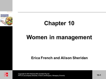 . Chapter 10 Women in management Erica French and Alison Sheridan Copyright  2010 McGraw-Hill Australia Pty Ltd PPTs to accompany Strachan, French and.