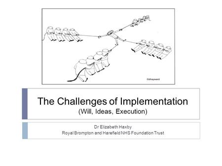 The Challenges of Implementation (Will, Ideas, Execution) Dr Elizabeth Haxby Royal Brompton and Harefield NHS Foundation Trust.