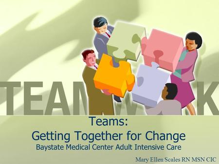 Teams: Getting Together for Change Baystate Medical Center Adult Intensive Care Mary Ellen Scales RN MSN CIC.