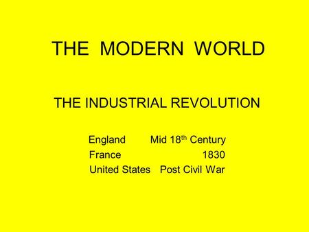 THE MODERN WORLD THE INDUSTRIAL REVOLUTION EnglandMid 18 th Century France 1830 United States Post Civil War.