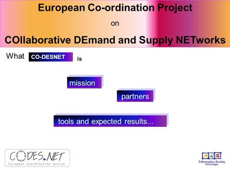 European Co-ordination Project on COllaborative DEmand and Supply NETworks What partners mission tools and expected results... CO-DESNET is.