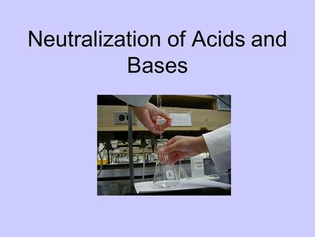 Neutralization of Acids and Bases. Titrations Standard Solution Sample Solutio n Burett e Primary Standard with a precisely known [ ] Unknown [ ] Sample.