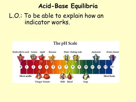 Acid-Base Equilibria L.O.: To be able to explain how an indicator works.