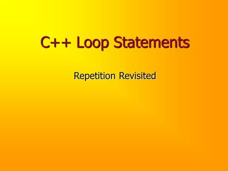 C++ Loop Statements Repetition Revisited. Problem Using OCD, design and implement a function that, given a menu, its first valid choice, and its last.