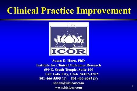 1 Clinical Practice Improvement Susan D. Horn, PhD Institute for Clinical Outcomes Research 699 E. South Temple, Suite 100 Salt Lake City, Utah 84102-1282.