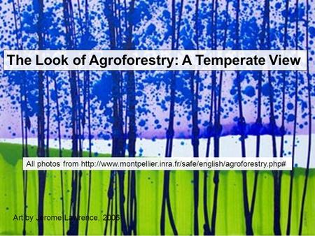 Art by Jerome Lawrence, 2006 All photos from  The Look of Agroforestry: A Temperate View.