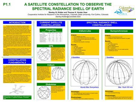A SATELLITE CONSTELLATION TO OBSERVE THE SPECTRAL RADIANCE SHELL OF EARTH Stanley Q. Kidder and Thomas H. Vonder Haar Cooperative Institute for Research.