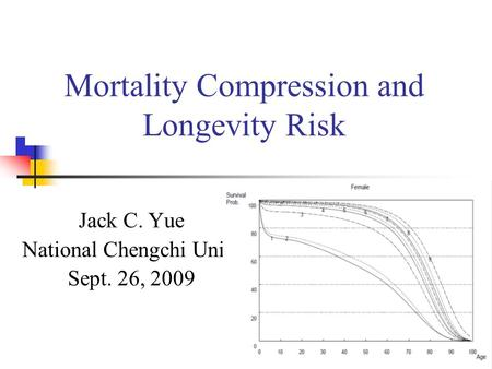 1 Mortality Compression and Longevity Risk Jack C. Yue National Chengchi Univ. Sept. 26, 2009.