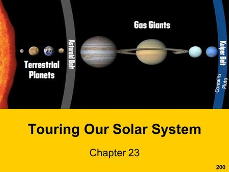"Touring Our Solar System Chapter 23 200. The Solar System Ch. 23.1 What are the 2 ""planetary neighborhoods""? –inner planets –outer planets What separates."