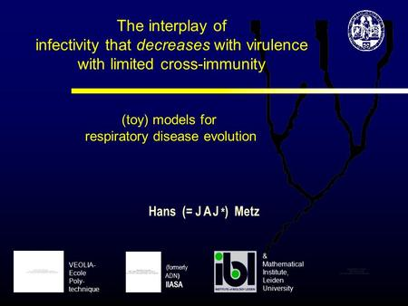 The interplay of infectivity that decreases with virulence with limited cross-immunity (toy) models for respiratory disease evolution Hans (= J A J * )