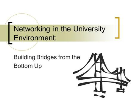 Networking in the University Environment: Building Bridges from the Bottom Up.