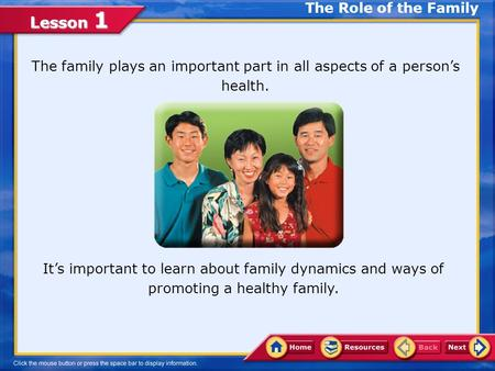 The Role of the Family The family plays an important part in all aspects of a person's health. Delete image It's important to learn about family dynamics.