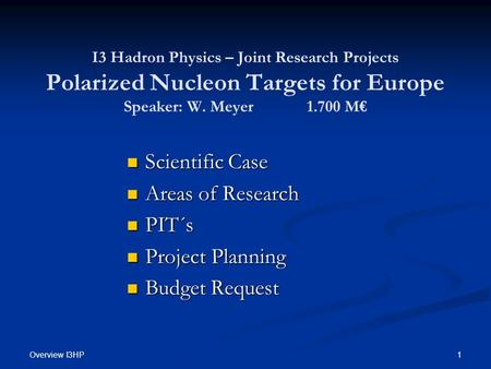 Overview I3HP 1 I3 Hadron Physics – Joint Research Projects Polarized Nucleon Targets for Europe Speaker: W. Meyer 1.700 M€ Scientific Case Scientific.