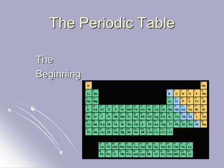 The Periodic Table TheBeginning. In the late 1800's, Dmitri Mendeleev, a Russian chemist, searched for a way to organize the elements. In the late 1800's,