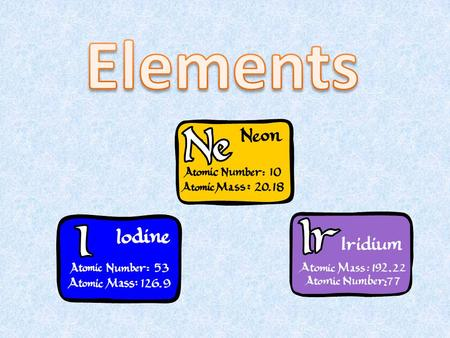 The organization of elements is the periodic table. Each square contains the name of an element and the letter symbol for that element (some symbols were.