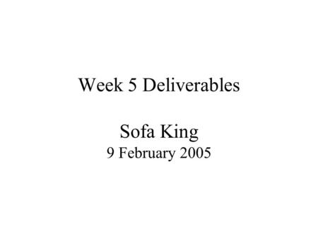 Week 5 Deliverables Sofa King 9 February 2005. Sofa Bed Recliner General Information Loren Hankla United States Patent Number: 4,829,611 Inventor: Bob.