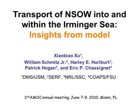 Transport of NSOW into and within the Irminger Sea: Insights from model Xiaobiao Xu 1, William Schmitz Jr. 2, Harley E. Hurlburt 3, Patrick Hogan 3, and.